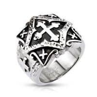 Stainless Steel Ornamental Multi Cross Plate Wide Cast Ring