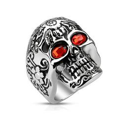 Day of The Dead Skull with Red CZ Eyes Stainless Steel Cast Ring - Thumbnail 0