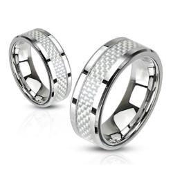 White Carbon Fiber Inlay Band Stainless Steel Ring - Thumbnail 0