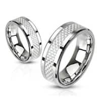 White Carbon Fiber Inlay Band Stainless Steel Ring