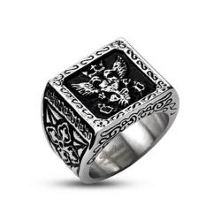 Stainless Steel Royal Empire Shield Cast Band Ring - Thumbnail 0