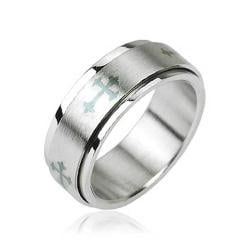 Stainless Steel Celtic Cross Center Spinner Ring