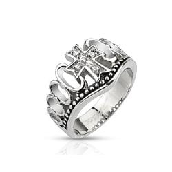 Multi CZ Paved Cross Crown Cast Stainless Steel Ring - Thumbnail 0
