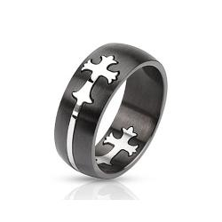 Dome Cut Out Celtic Cross Two Tone Band Stainless Steel Ring