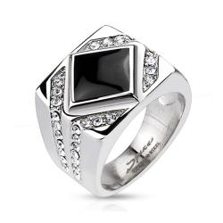 Diamond Shaped Onyx with Clear Micro Paved CZs Square Cast Stainless Steel Ring