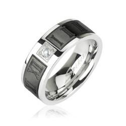 Stainless Steel Ring with Black Plated Engraved Roman Numerals with CZ Center - Thumbnail 0