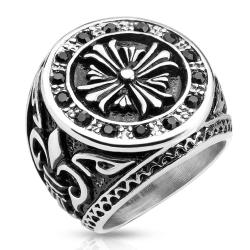 Celtic Cross Black CZ Border with Fleur De Lis Sides Stainless Steel Biker Cast Ring - Thumbnail 0