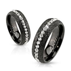 Glittery Black IP Over Stainless Steel Ring with Clear CZ Center