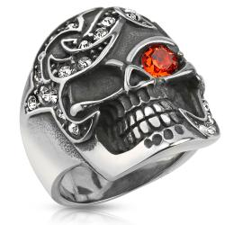 Multi CZ Pirate Treasure Skull Stainless Steel 26mm Wide Cast Ring - Thumbnail 0