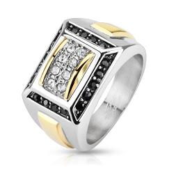 Micro Paved Clear CZs with Black CZ Border Square Cast Two Toned Stainless Steel Ring - Thumbnail 0