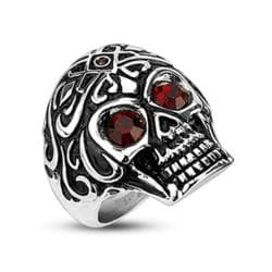 Stainless Steel Royal Tribe Red CZ Eyed Skull Wide Cast Ring - Thumbnail 0