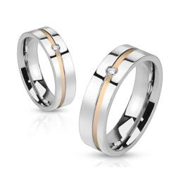 Diagonal Cut Line with Center Gem Stainless Steel Gold IP Band Ring