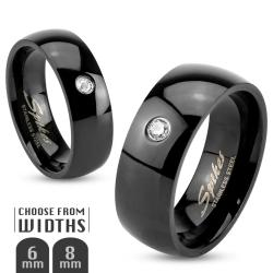 Single CZ Classic Black IP 6mm Stainless Steel Band Ring