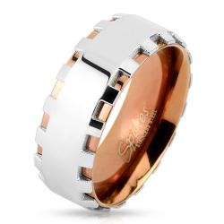Gear Edge Two Tone Coffee IP Stainless Steel Ring - Thumbnail 0
