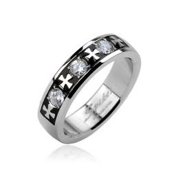 Stainless Steel Celtic Cross with Triple Gem Ring - Thumbnail 0