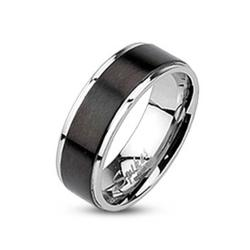 Stainless Steel Black Plated Brushed Center Band Ring - Thumbnail 0