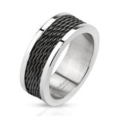 Multi Wire Inlay Black IP Stainless Steel Band Ring - Thumbnail 0