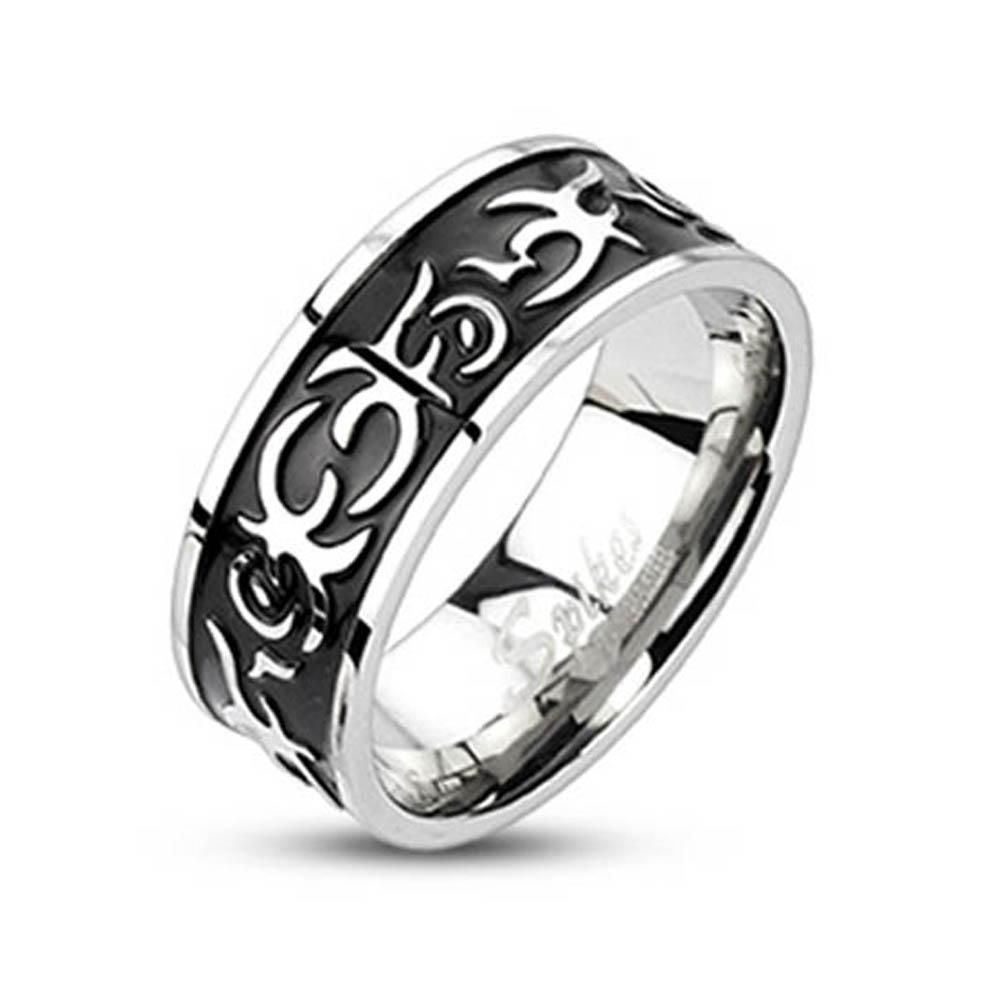 Stainless Steel Black Plated Center Casted Tribal Band Ring