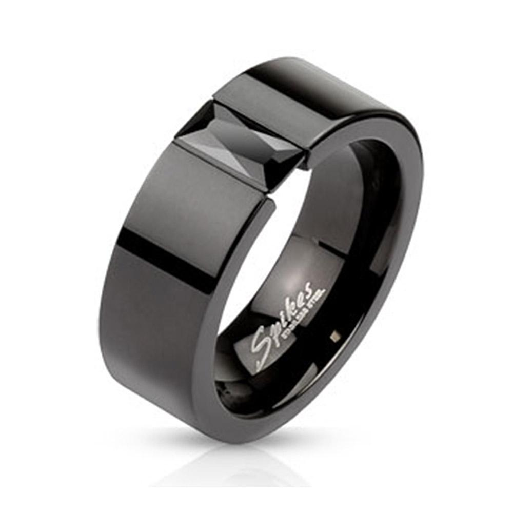 Flat Black Plated 6mm Stainless Steel Band Ring with Rectangular Black Crystal
