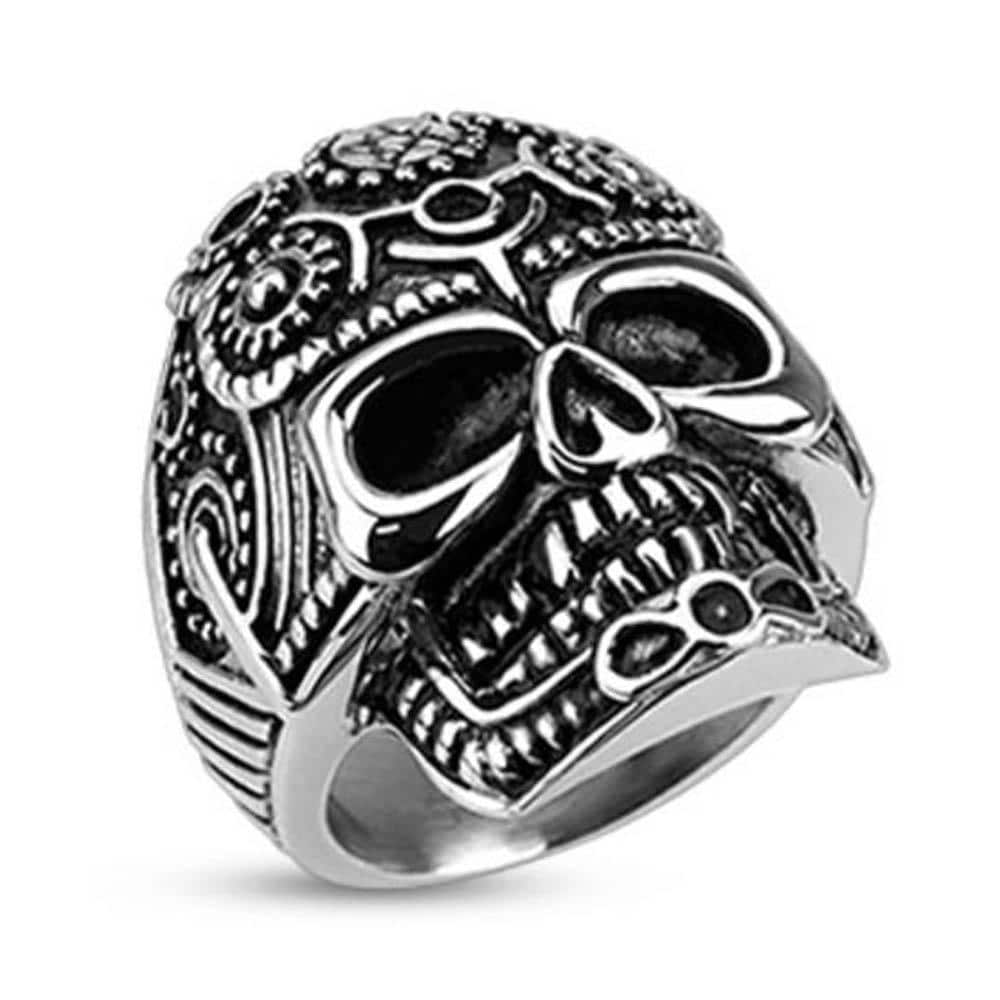 Stainless Steel Decorated Pentagram Gear Skull Wide Cast Ring