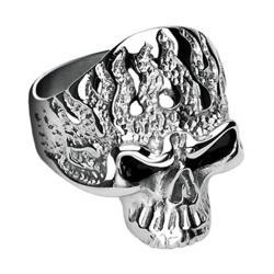 Stainless Steel Flam'in Skull Ring - Thumbnail 0