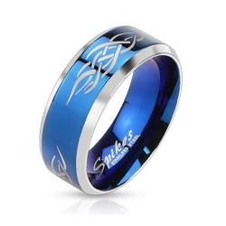 Tribal Inlay Stainless Steel Blue IP Band Ring - Thumbnail 0