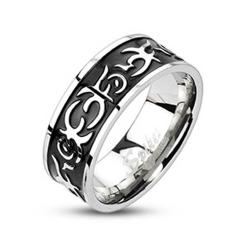 Stainless Steel Black Plated Center Casted Tribal Band Ring - Thumbnail 0