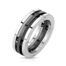 Centered Black IP Three Band Combination Stainless Steel Ring - Thumbnail 0