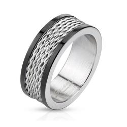 Multi Wire Inlay Stainless Steel Band Ring with Black IP Edge - Thumbnail 0