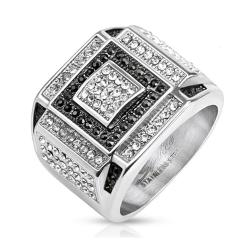 Black and Clear CZ Square Pattern Micro Paved Cast Stainless Steel Ring - Thumbnail 0