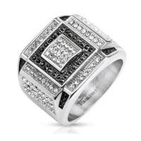 Black and Clear CZ Square Pattern Micro Paved Cast Stainless Steel Ring