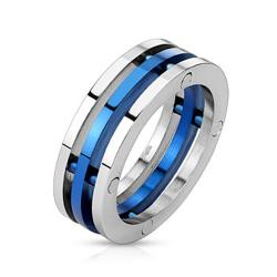 Centered Blue IP Three Band Combination Stainless Steel Ring - Thumbnail 0