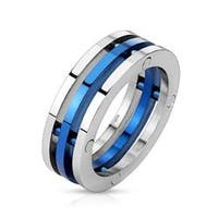 Centered Blue IP Three Band Combination Stainless Steel Ring