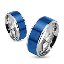 Step Edges Two Tone Brushed Blue IP Center Stainless Steel Band Ring - Thumbnail 0