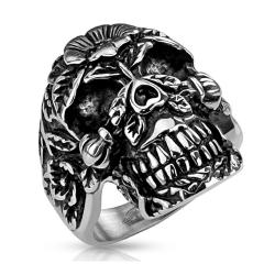 Sugar Skull Cast Biker Stainless Steel Ring - Thumbnail 0