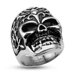 Stainless Steel Decorative Power Animal Skull Wide Cast Ring