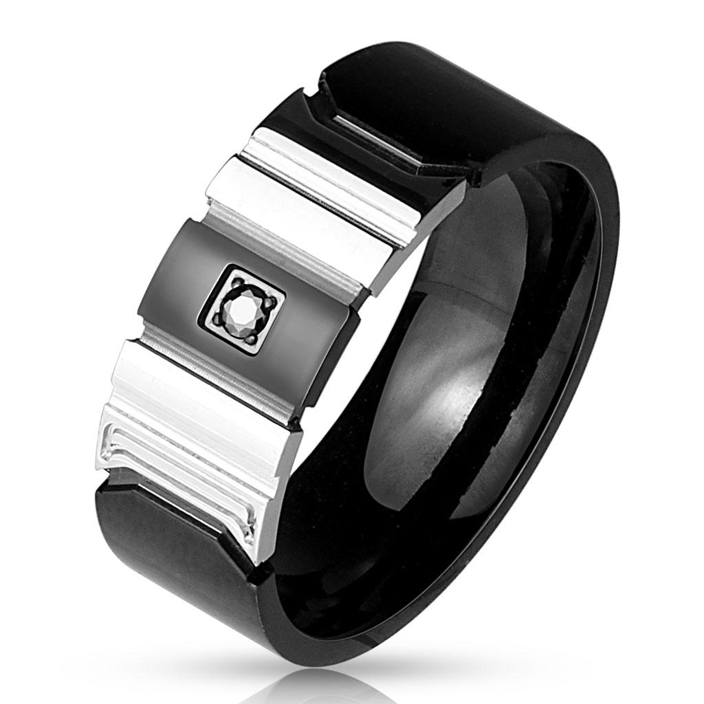 Black CZ Centered IP Black and shiny Steel 2-Tone Stainless Steel Ring