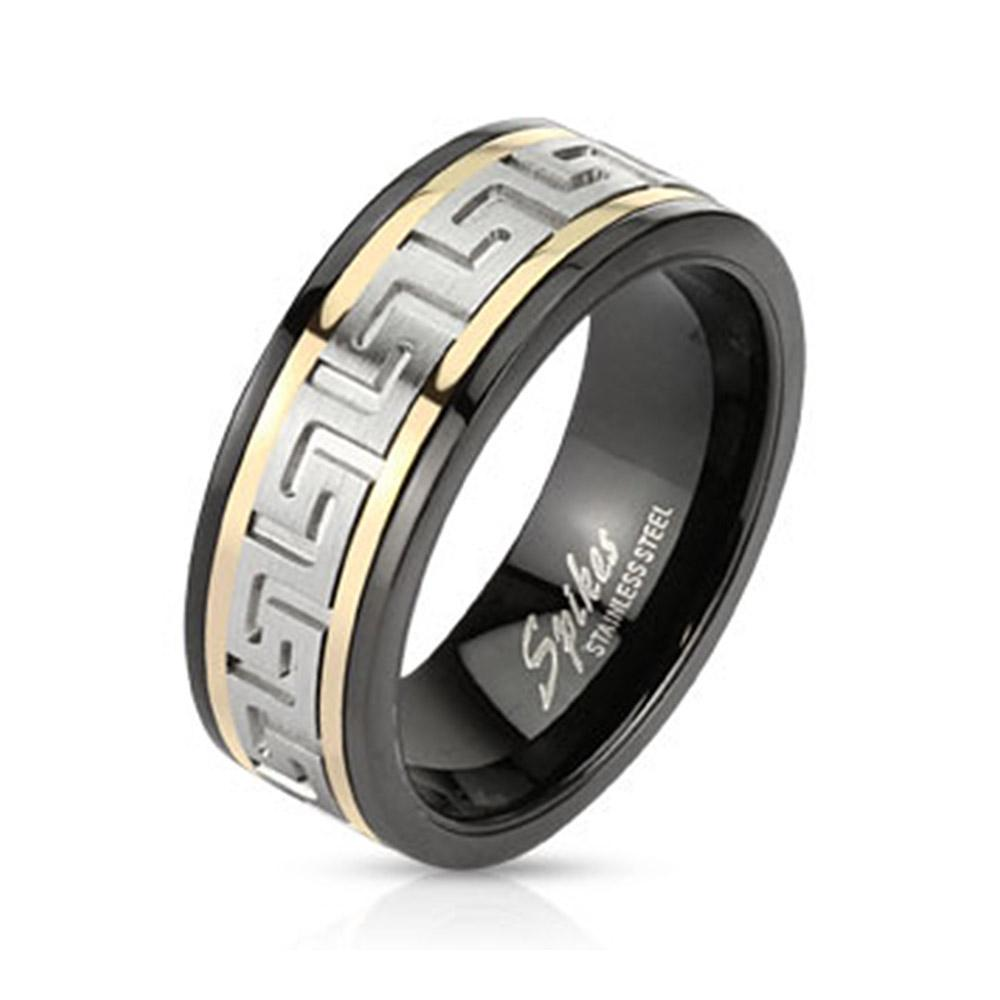 Maze Two Toned Spinner Stainless Steel Ring Black IP