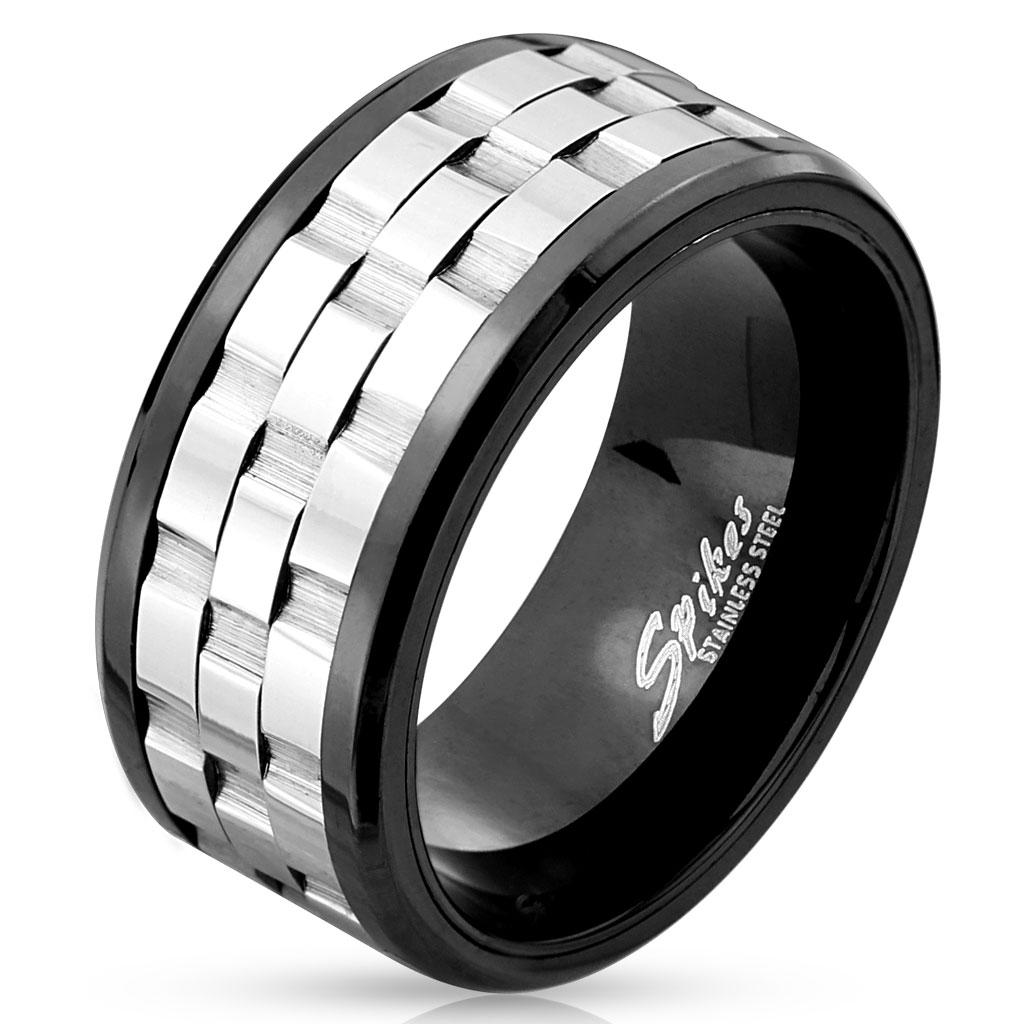 Two Tone Three Part Gear Black IP Stainless Steel Spinner Ring