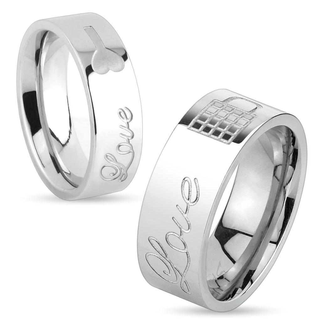 Lock & Key Love Engraved Stainless Steel Ring