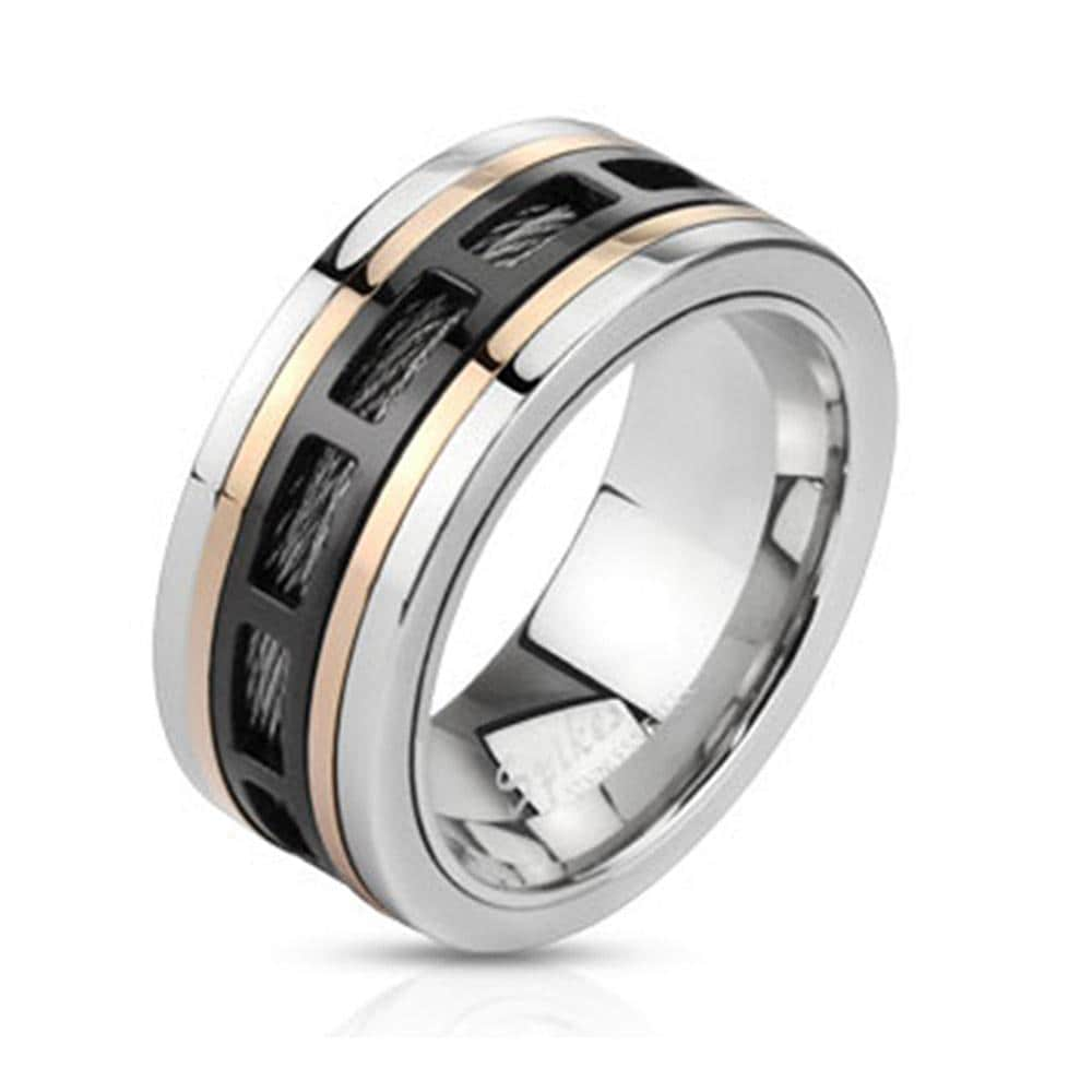 Three Tone Hollow Rectangle Patterns Over Black Wire Spinning Band Stainless Steel Ring