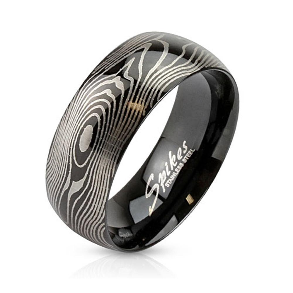 Finger Print Laser Etched Black IP Stainless Steel Ring