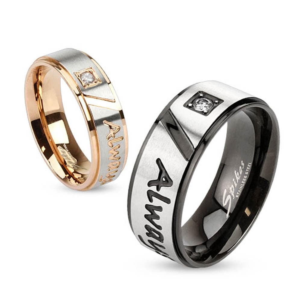 """""""Always Together"""" Engraved Two Tone Stainless Steel Ring with Single CZ"""