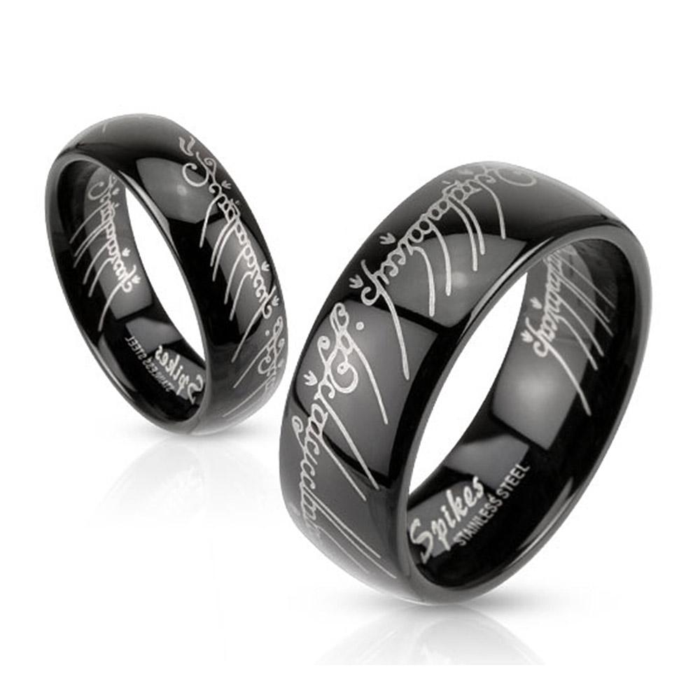 Laser Etched 6mm or 8mm Stainless Steel Black IP Band Ring