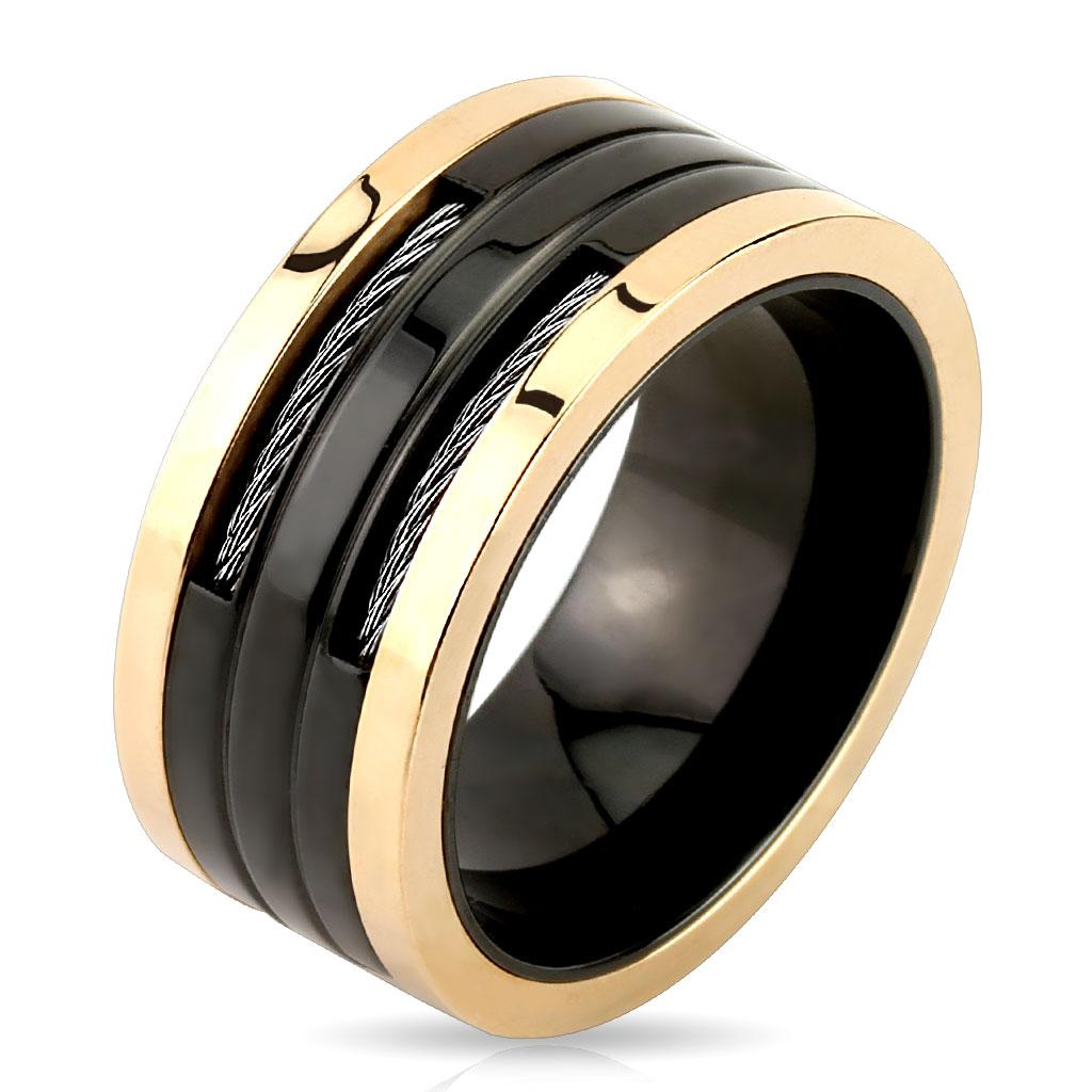 Wire Slit Center Black & Rose Gold Stainless Steel Ring