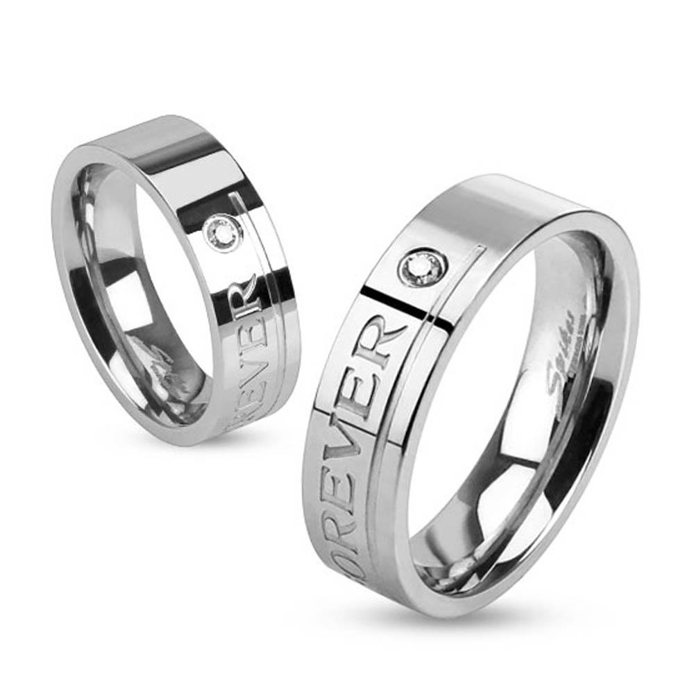 """""""Love You Forever"""" Engraved Stainless Steel Band Ring with Single CZ"""