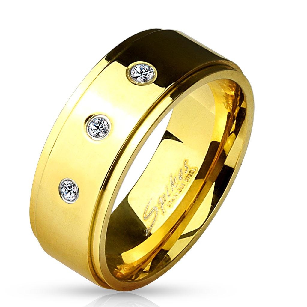 3 CZ Set Stepped Edge Gold IP Stainless Steel Ring