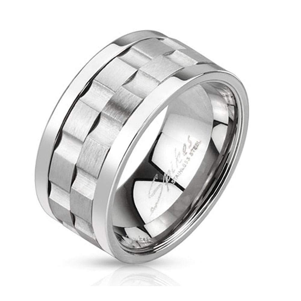 Gear Shaped Center Double Spinner Stainless Steel Ring