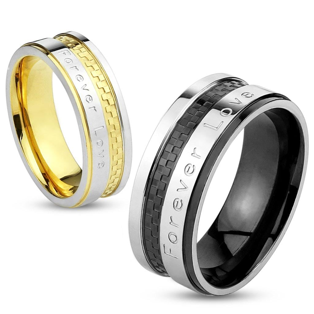 'Forever Love' Engraved Checkered IP Stainless Steel Ring