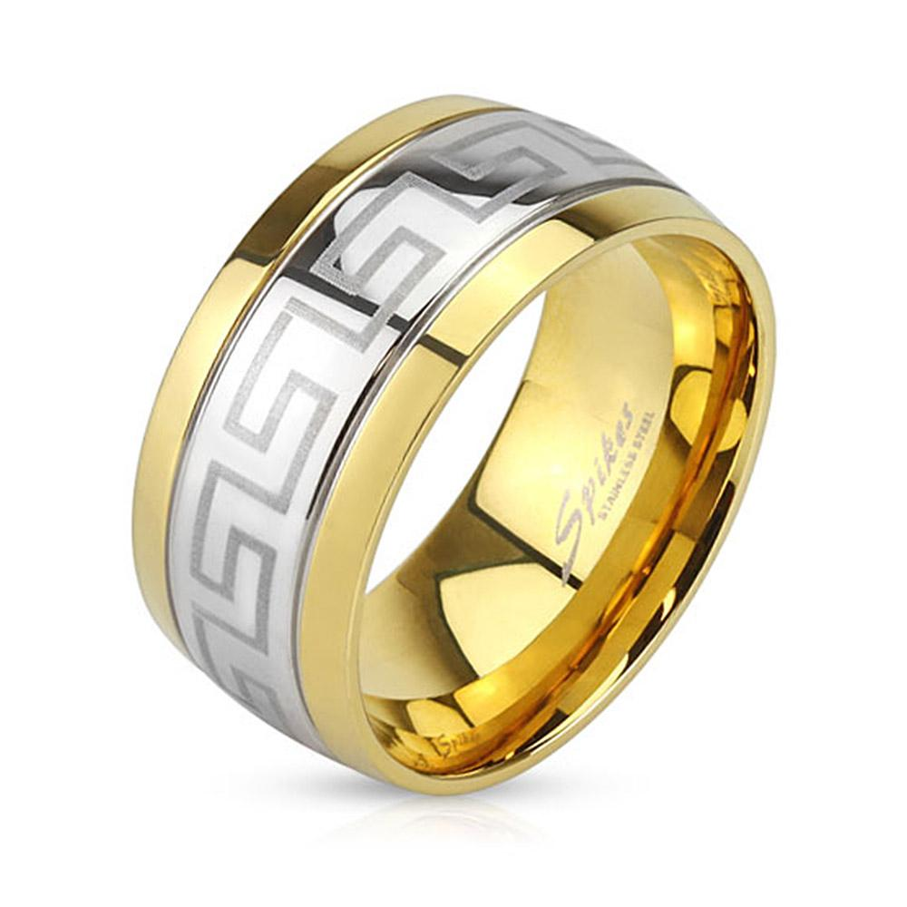 Maze Center Laser Etched Stainless Steel Band Ring with Gold IP Edges